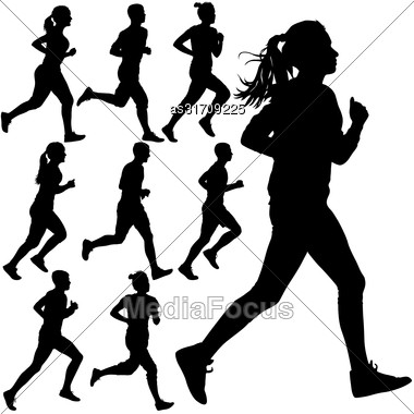 Set Of Silhouettes. Runners On Sprint, Men And Woman Stock Photo