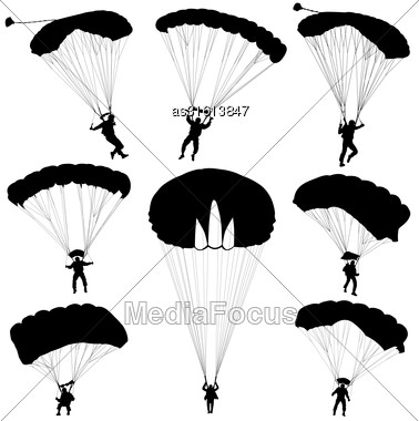 Set Skydiver, Silhouettes Parachuting Vector Illustration Stock Photo