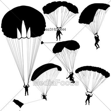 Set Skydiver Silhouettes Parachuting Vector Illustration Stock Photo
