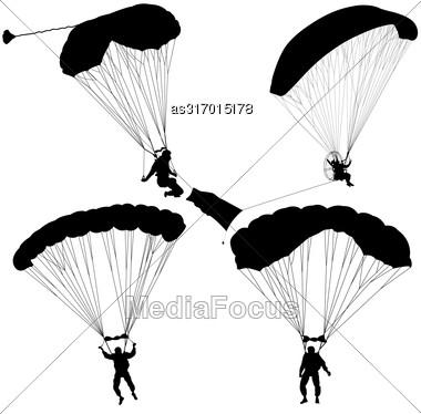 Set Skydiver, Silhouettes Parachuting Vector Illustration Stock Photo