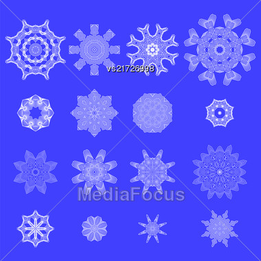 Set Of Snow Flakes Isolated On Blue Background Stock Photo
