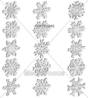 Set Snowflakes Icons On White Background, Vector Illustration Stock Photo