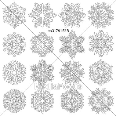 Set Snowflakes Icons On White Background, Vector Illustration Stock Photo