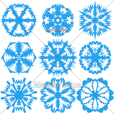 Set Of Snowflakes On A White Background. Vector Illustration Stock Photo