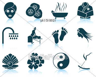 Set Of Spa Icons. EPS 10 Vector Illustration Without Transparency Stock Photo