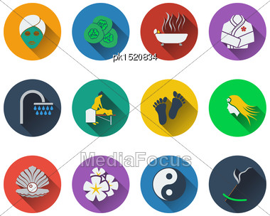 Set Of Spa Icons In Flat Design Stock Photo