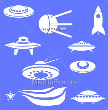Set Of Spaceships Silhouettes Isolated On Blue Background Stock Photo
