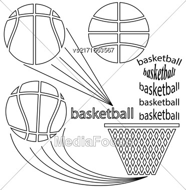 Set Of Sport Basketball Icons On White Background. Line Art Design Stock Photo