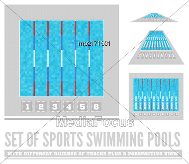 Set Of Sports Swimming Pools With Different Number Of Tracks Plus A Perspective View. Vector Illustration Stock Photo