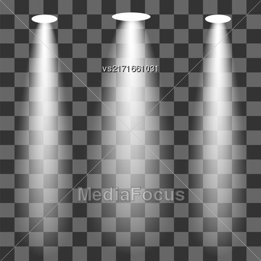 Set Of Spotlights Isolated On Checkered Background Stock Photo