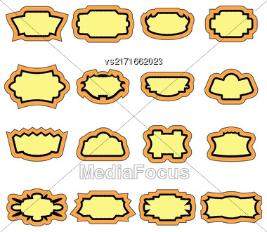 Set Of Stickers Isolated On White Background Stock Photo