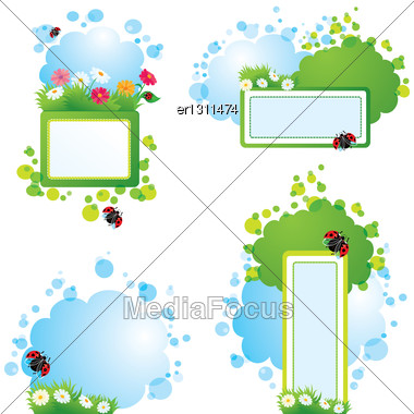 Set Of Summer Backgrounds And Frames With Grass, Flowers And Ladybirds Stock Photo