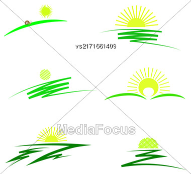 Set Of Sun Icons Isolated On White Background Stock Photo