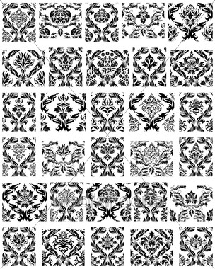 Set Of Thirty Damask Seamless Vector Patterns. Elegant Design In Royal Baroque Style Background Texture. Floral And Swirl Elements. Ideal For Textile Print And Wallpapers. Vector Illustration Stock Photo