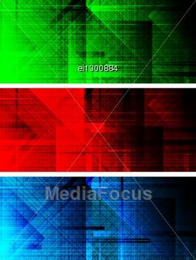 Set Of Three Dark Textural Banners (eps 10) Stock Photo