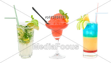 Set Of Three Fresh Cocktails Isolated Stock Photo