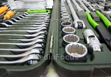 Set Of Tools For Home And Car In A Box Stock Photo