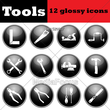 Set Of Tools Glossy Icons. EPS 10 Vector Illustration Stock Photo