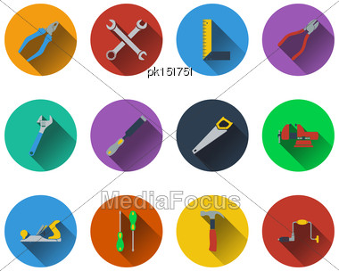 Set Of Tools Icons In Flat Design. EPS 10 Vector Illustration With Transparency Stock Photo