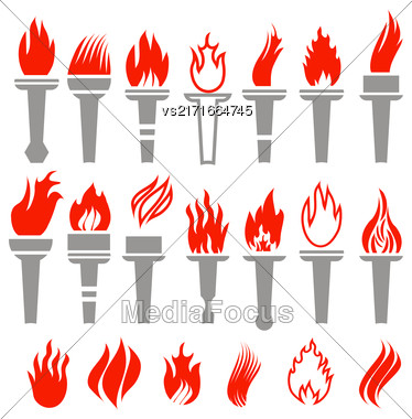 Set Of Torch Icon Isolated On White Background Stock Photo