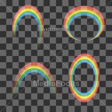 Set Of Transparent Rainbow Icons Isolated On Checkered Background Stock Photo