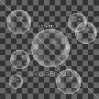 Set Of Transparent Soap Water Bubbles Isolated On Checkered Background Stock Photo