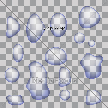 Set Of Transparent Water Drops Isolated On Gray Checkered Background Stock Photo