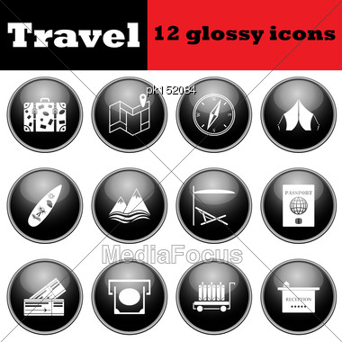 Set Of Travel Glossy Icons. EPS 10 Vector Illustration Stock Photo