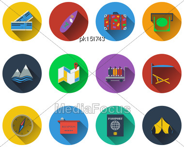 Set Of Travel Icons In Flat Design. EPS 10 Vector Illustration With Transparency Stock Photo