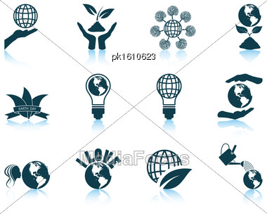 Set Of Twelve Earth Day Icons With Reflections. Vector Illustration Stock Photo