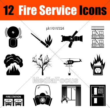 Set Of Twelve Fire Service Black Icons. Vector Illustration Stock Photo