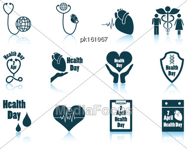 Set Of Twelve Health Day Icons With Reflections. Vector Illustration Stock Photo