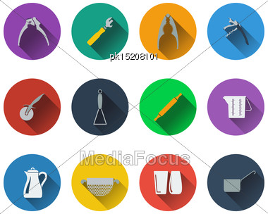 Set Of Utensils Icons In Flat Design Stock Photo
