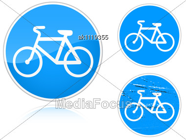 Set Of Variants A Bicycle Path - Road Sign Group Of As Fish-eye Simple And Grunge Icons For Your Design Stock Photo