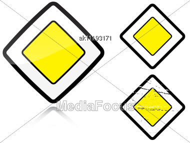 Set Of Variants A Main Road - Road Sign Group Of As Fish-eye Simple And Grunge Icons For Your Design Stock Photo