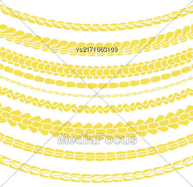 Set Of Variety Gold Chain Silhouettes Isolated On White Background Stock Photo
