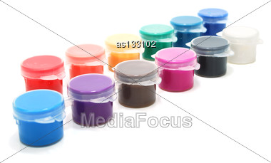 Set Of Various Color Ink Cans Isolated On White Stock Photo