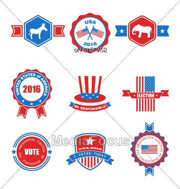 Set Of Various Voting Graphics Objects And Labels, Emblems, Symbols, Icons And Badges For Vote USA. Templates And Design Elements. Isolated On White Background - Vector Stock Photo