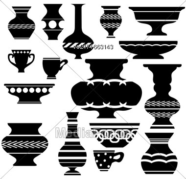 Set Of Vases Silhouettes Isolated On White Background Stock Photo