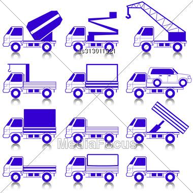 Set Of Vector Icons - Transportation Symbols. Cars, Vehicles. Car Body. Stock Photo