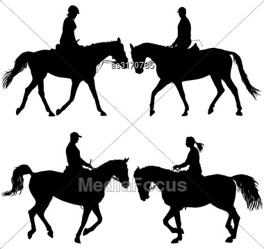 Set Vector Silhouette Of Horse And Jockey Stock Photo