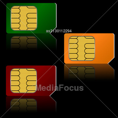 Set Vector SIM Cards. Stock Photo