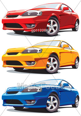 Set Of Vectorial Modern Sport Cars Every Car Is In Separate Layer No Blends And Gradients Stock Photo