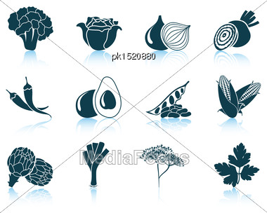Set Of Vegetable Icons. EPS 10 Vector Illustration Without Transparency Stock Photo