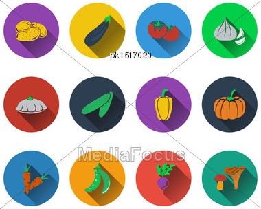 Set Of Vegetables Icons In Flat Design. EPS 10 Vector Illustration With Transparency Stock Photo