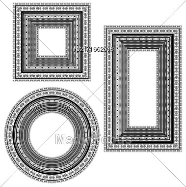 Set Of Vintage Frames Isolated On White Background Stock Photo