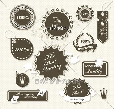 Set Of Vintage Retro Premium Quality Badges And Labels Stock Photo