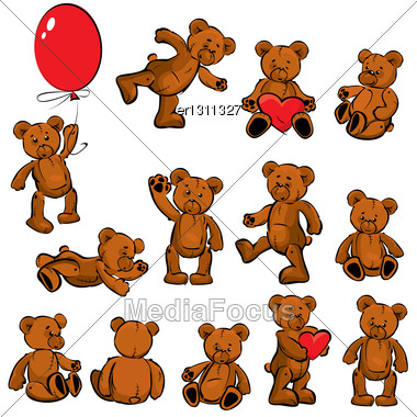 Set Of Vintage Soft Toys - Teddy Bears Stock Photo
