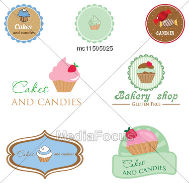 Set Of Vintage Style Logo With Cupcake And Candies. Good Idea For Label, Banner, Logo Or Other Design Stock Photo