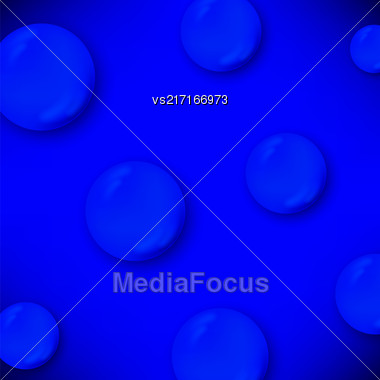 Set Of Water Drops Isolated On Blue Background Stock Photo